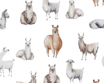 Llama Wallpaper - Forest Animal Wallpaper, Nursery Decor, Removable Wallpaper, Llama Wall Decor, LLama Decor, Animal Wall Decor, Nurseries