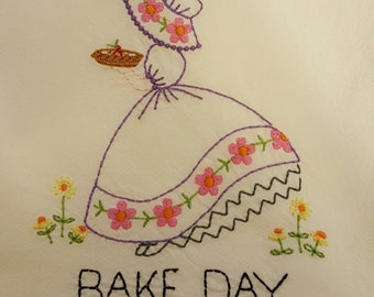 Traditional Sunbonnet Sue Bake day flour sack towel