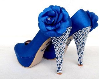 Royal Blue Wedding Shoes with Flowers and Rhinestones, Something Blue Bridesmaids Shoes