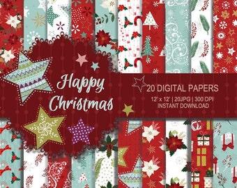 Christmas digital paper, Christmas printable, Christmas paper, Seamless Pattern, red mint Christmas paper, Winter digital paper