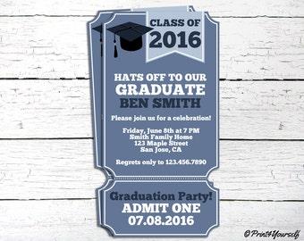 Graduation Invite // Personalized Printable Class Of Graduation Ticket Invitation // Class of 2016 Invite // Graduation Invitation