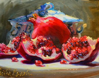 Art Print of PUNICA GRANATUM, red and blue, Classic still life, oil on canvas, gift for mom, gift for her, Christmas gift