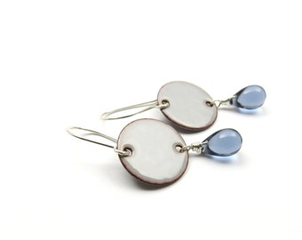 Gray Teardrop Earrings with Sterling Silver Earwires and Blue Glass Drops - Modern Enamel Jewelry - Gift for her / I Love Rain