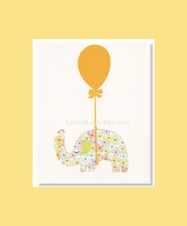 Baby Girl Nursery Prints NURSERY ART Elephant Print Yellow