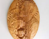 "Wooden Holy Family Plaque, Religious Wood Carving, JOSEPH MARY & baby JESUS, 16"" Tall by 10"" Wide, Ash Wood, Golden Oak Stain, Satin Finish"