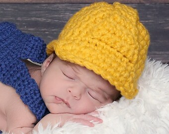 RTS Construction Hat, Hard Hat, Baby Boy or Girl, Bright Yellow, Keepsake Gift or Photography Prop, Newborn (Fits up to 14 in.)
