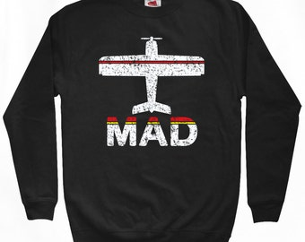 Fly Madrid Sweatshirt - MAD Airport - Men S M L XL 2x 3x - Madrid Spain Shirt - 2 Colors