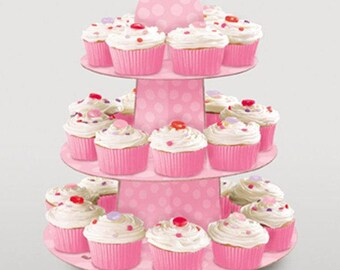 Pink Polka Dot Cupcake Stand - Holds 24 Cupcakes - Cupcake Display - Baby Shower - Bridal Shower - Bachelorette Party -