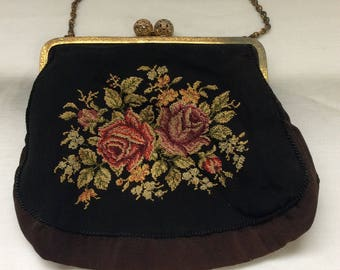 Petit point purse, Made in Germany, Inside pocket, Reticulated Kiss clasp, Gold tone frame, Evening purse, clutch bag, Tapestry purse,