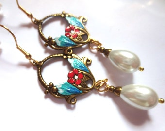 Art Nouveau earrings Victorian earrings vintage Art Deco pearl earrings turquoise earrings long Edwardian earrings