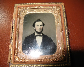 Antique Tintype Handsome Young Man, Mid Victorian in Half Case, 1/9th Plate