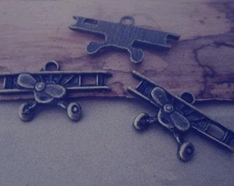 16pcs of Antique bronze plane pendant charm 15mmx28mm