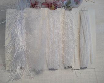 Specialty yarn art fiber embellishment bundle, Snow White