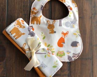 Baby Bib and Burp Cloths, Baby Boy Gift, Baby Girl Gift, Baby Shower Gift, Wilderness, Monogrammed Gift,  Personalized Gift, Toddler Bib