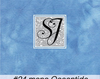 17x23 hand tie dyed #24 count Needlepoint Canvas #24 Congress Cloth OCEANTIDE Blue background for you to stitch