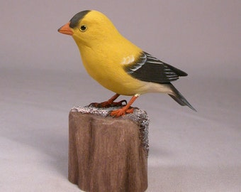 American Goldfinch Wooden carved Bird