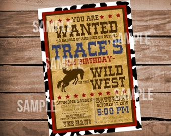 Western Cowboy Wild West Digital Birthday Invitation