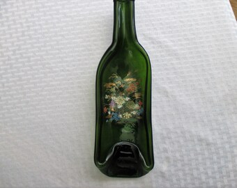 Lily Pad, melted bottle, slumped bottle, recycled glass, recycled bottle, snack dish, spoon rest, bottle art, lily pad, melted glass