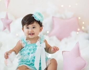 White & Aqua Lace Romper, Baby Romper, 1st Birthday Outfit, Aqua Flower Headband, Ruffle Romper, Baby Girls Rompers, Photo Prop