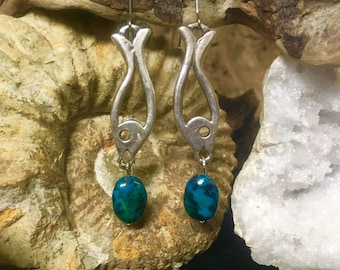 Silver and azurite fish dangle earrings