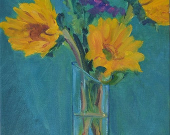 sunflowers oil painting, flowers, impressionism, small art, floral painting