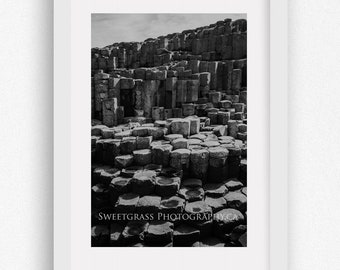 Large Size Photography Print - Giant's Causeway - Travel Photography - Ireland Landscape - Hexagon - Fine Art - Volcanic Rock