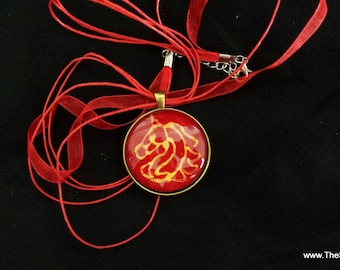 Necklace, Gold Horse gold on red silk, 38mm pendant necklace hand painted jewelry created by artist M Theresa Brown, free organza gift bag