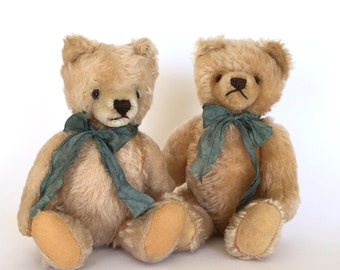 Vintage mohair teddy bears, two pale gold mohair teddy bear, companion teddy bears