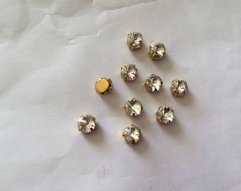 Set of 10 rhinestone set 6 mm Crystal gold base