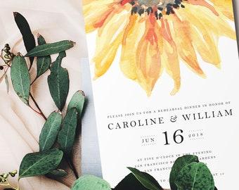 Watercolor Flowers Rehearsal Dinner Invitation/Printable Rehearsal Dinner Invite/Invitation Download/Rehearsal Invitation Template/Sunflower