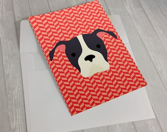Dog Greeting Card - Pitbull Greeting Card - Card for dog lovers - dog lover card - notecard for dog lovers - Pittie greeting card