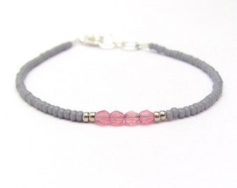 Dove Gray Pink Friendship Bracelet, Seed Bead Bracelet, Beaded Bracelet, Sunset Color Petite Tiny, Miss Ceces Jewels Bridesmaid Jewelry