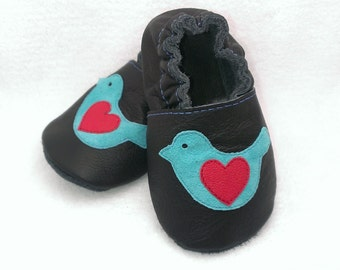 Bird soft sole leather shoes, leather baby shoes, baby pre-walkers, soft soled baby shoes, baby slippers, toddlers moccasins