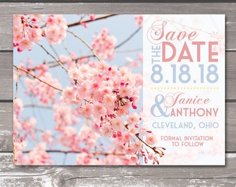 5x7 Cherry Blossom Save the Date -- DIGITAL PRODUCT / Printable Wedding / Cherry Blossoms / Wedding Announcement