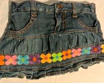 custom embellished Guess Baby denim skirt