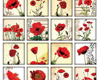 Poppy Squares - Ceramic Waterslide Decal - Enamel Decal - Fusible Decal - 93277S