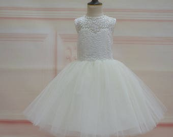 Ivory flower girl dress. Ivory lace tulle flower girl dress