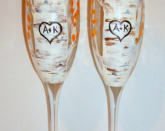 Aspen Trees ( Fall Leaves ) with Heart & Initials Hand Painted Set of 2 - 6 oz. Champagne Flutes Wedding Glasses Wedding Anniversary Gift