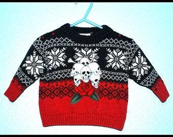 Boys Rockabilly Sweater with Skulls n Bones....size 3-6 months