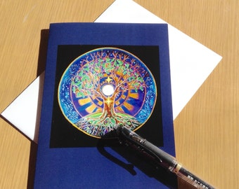 Solstice Card  Full Moon Tree of Life - Winter Solstice -Mandala Greeting Card -  Art Card Colored Pencil Drawing- Blank-