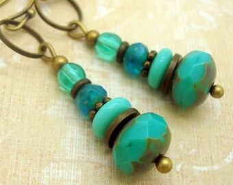 Boho Earrings in Zen Style with Stacked Turquoise Blue Glass Disc Beads