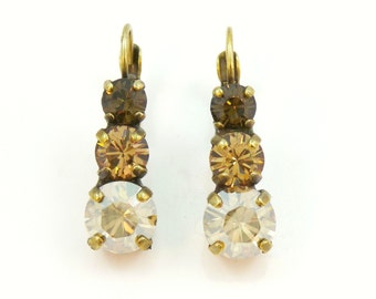 "Brown Crystal Earrings Champange Brown drop earrings Brown Swarovski crystals Earring,""PECAN"",Brass finish,Brown shades, Golden shadow, BE45"