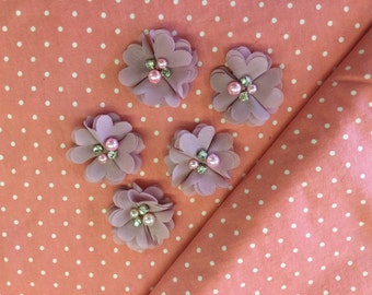 "2.5"" Mauve Dusty Rose Chiffon Flower with Pearl and Rhinestone Center set of 5"