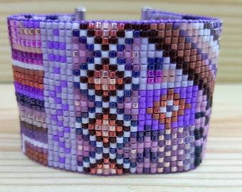 Ultraviolet Funky Beadloomed Bracelet.  Beadwoven Bracelet