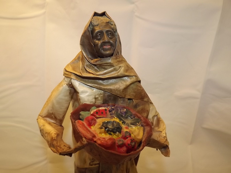 Mexican Folk Art Papier Mache Sculpture of a Peasant Woman
