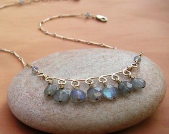 Labradorite Necklace Gold Curved Bar Labradorite Fringe Pendant Gold Filigree Loop Pendant Blue Flash Gemstone Pendant Bellanti Jewelry