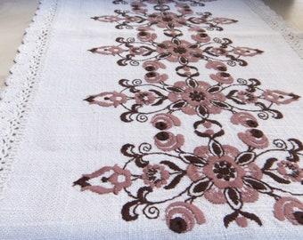 Vintage Ubelhor Austrian Embroidered Linen tablecloth runner Large