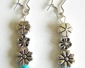 Silver Plated Flower Floral Dangle Pierced Earrings
