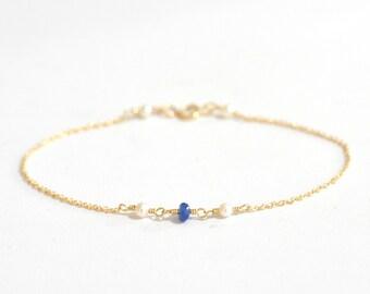 Blue Sapphire and Freshwater Pearl bracelet, Blue Sapphire Gold bracelet, Delicate gold bracelet, Minimalist, September Birthstone