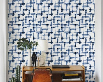 Blue Watercolor Wallpaper / Removable Wallpaper/ Brush pattern Self-adhesive Wallpaper / Abstract Pattern Wall Covering - 154